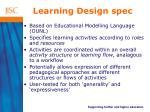 learning design spec