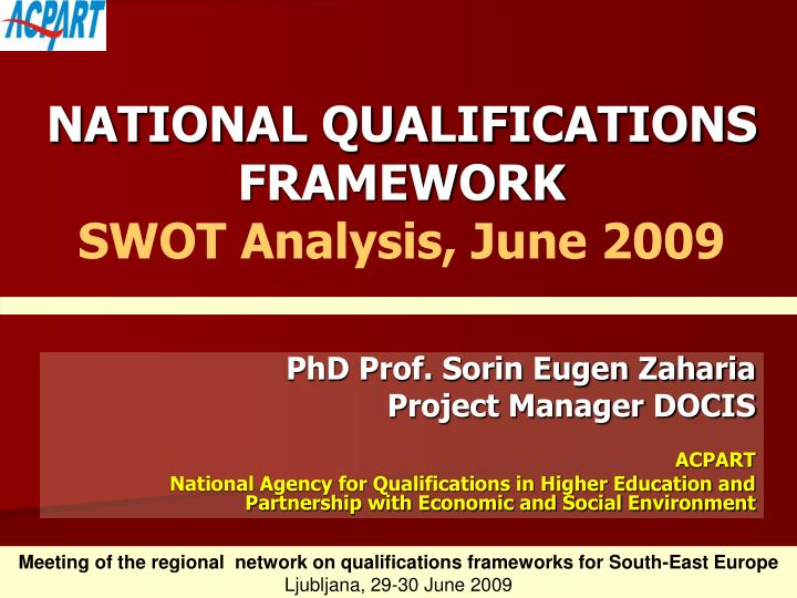 National qualifications framework swot analysis june 2009