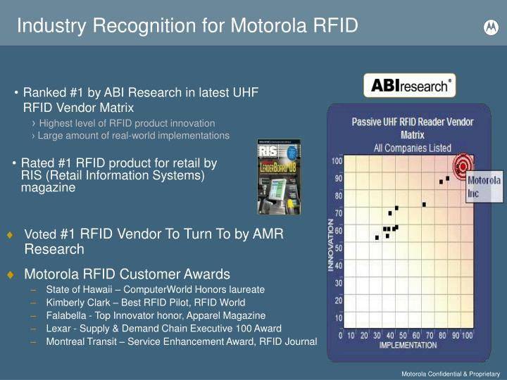 Industry recognition for motorola rfid
