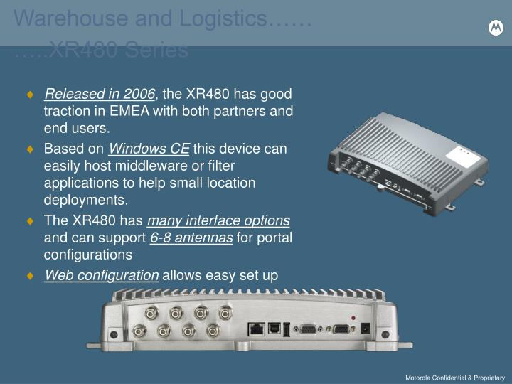 Warehouse and Logistics……                                                   …..XR480 Series