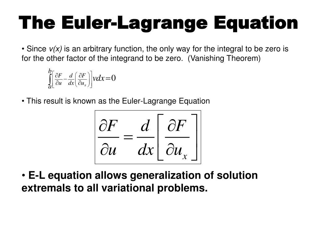 The Euler-Lagrange Equation
