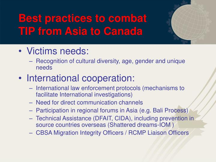 Best practices to combat TIP from Asia to Canada