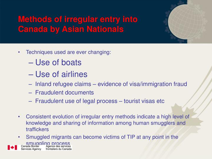Methods of irregular entry into Canada by Asian Nationals