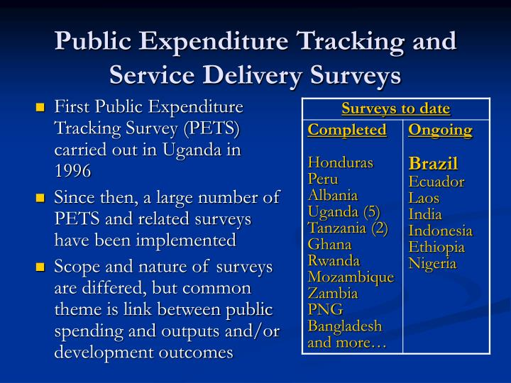 Public expenditure tracking and service delivery surveys1