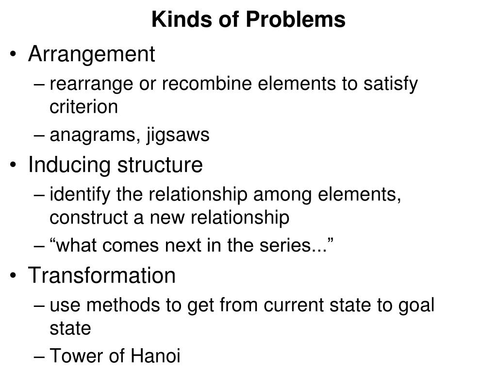 Kinds of Problems