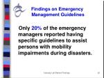 findings on emergency management guidelines