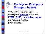 findings on emergency managers training