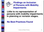 findings on inclusion of persons with mobility impairments
