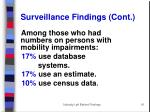 surveillance findings cont