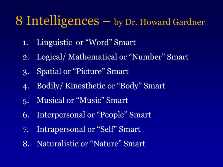 8 intelligences by dr howard gardner