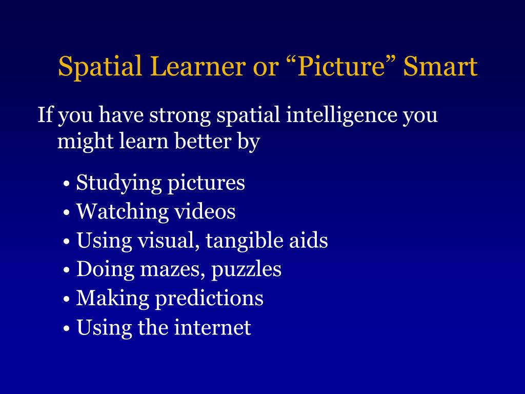 "Spatial Learner or ""Picture"" Smart"