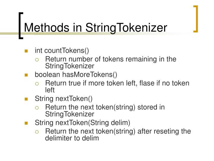 Methods in StringTokenizer
