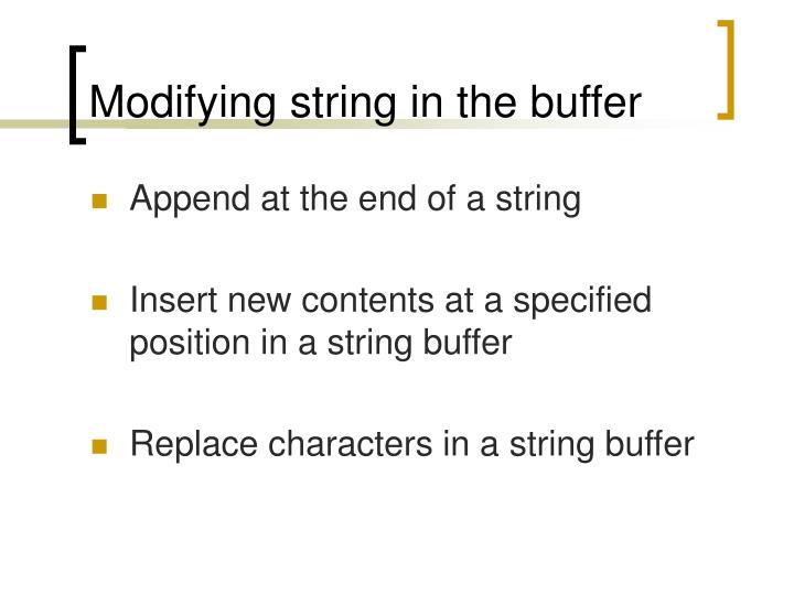 Modifying string in the buffer
