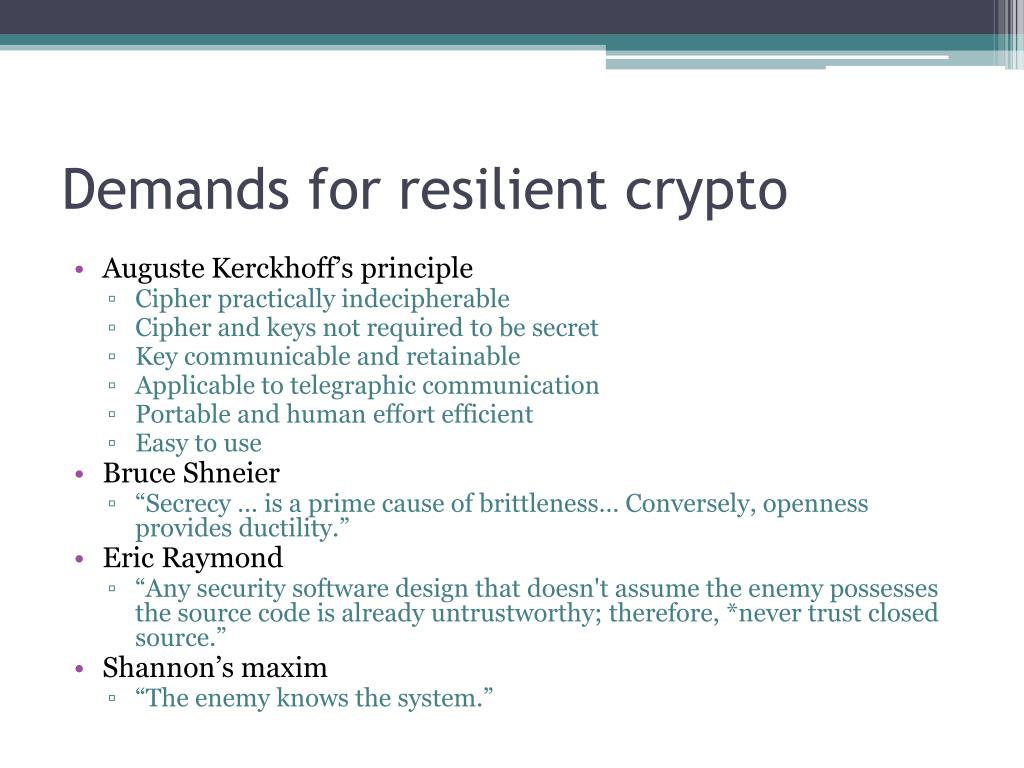 Demands for resilient crypto