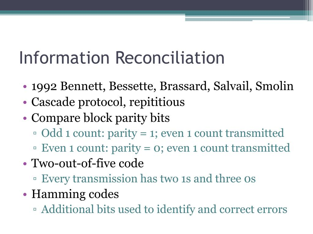 Information Reconciliation
