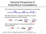 historical perspective of azide alkyne cycloadditions