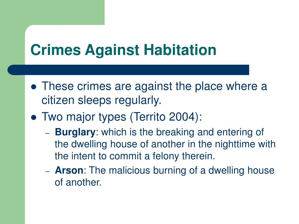 Crimes Against Habitation