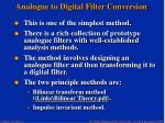 analogue to digital filter conversion