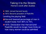 taking it to the streets horner s work after studies