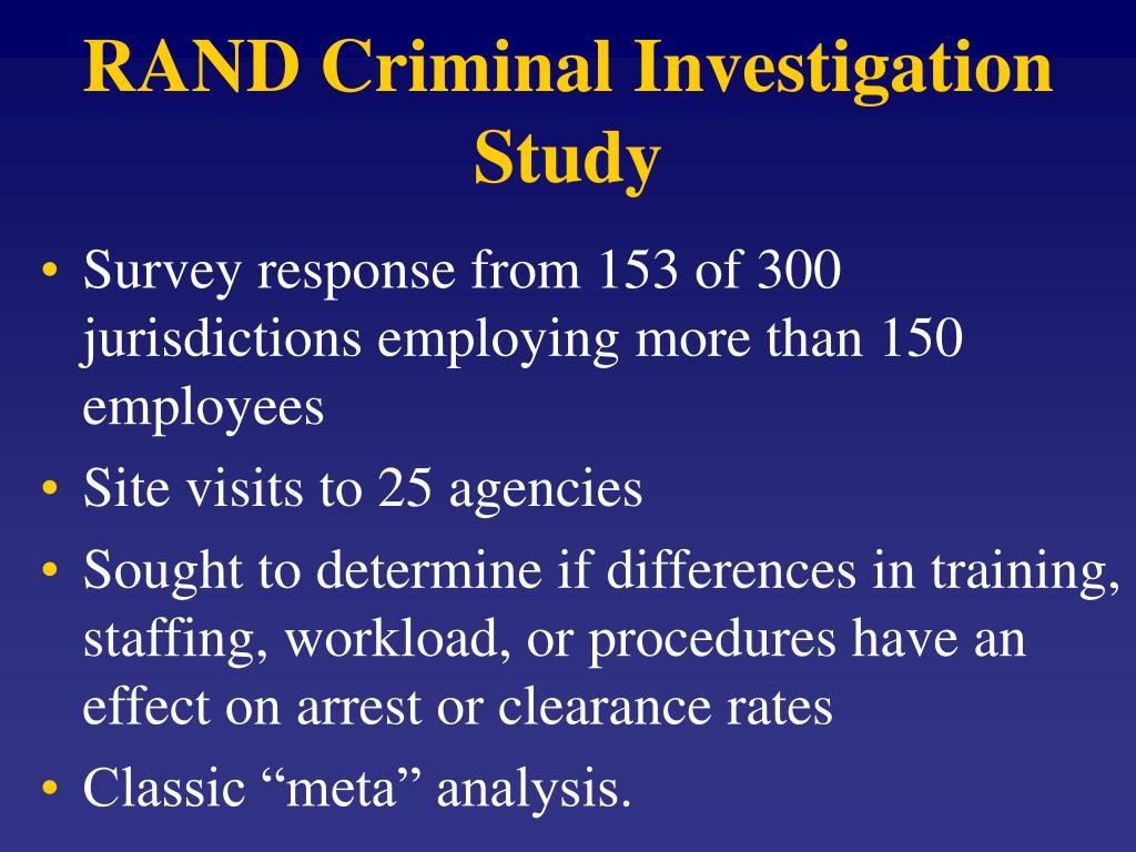 RAND Criminal Investigation Study