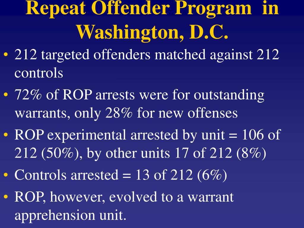 Repeat Offender Program  in Washington, D.C.