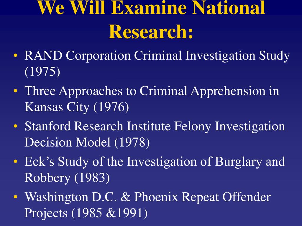 We Will Examine National Research: