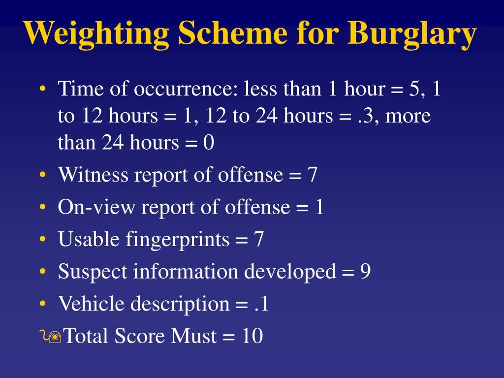 Weighting Scheme for Burglary