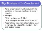 sign numbers 2 s complement
