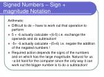 signed numbers sign magnitude notation