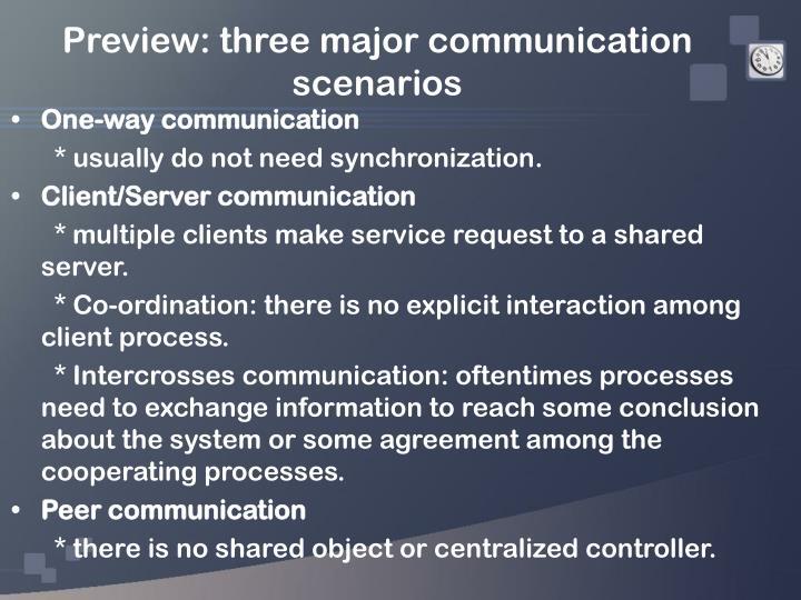 Preview three major communication scenarios