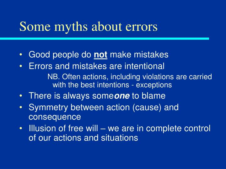 Some myths about errors