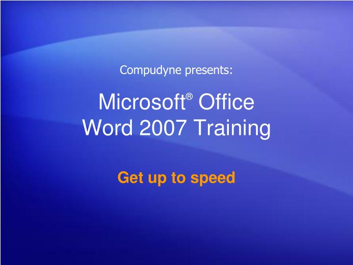 microsoft office word 2007 training n.