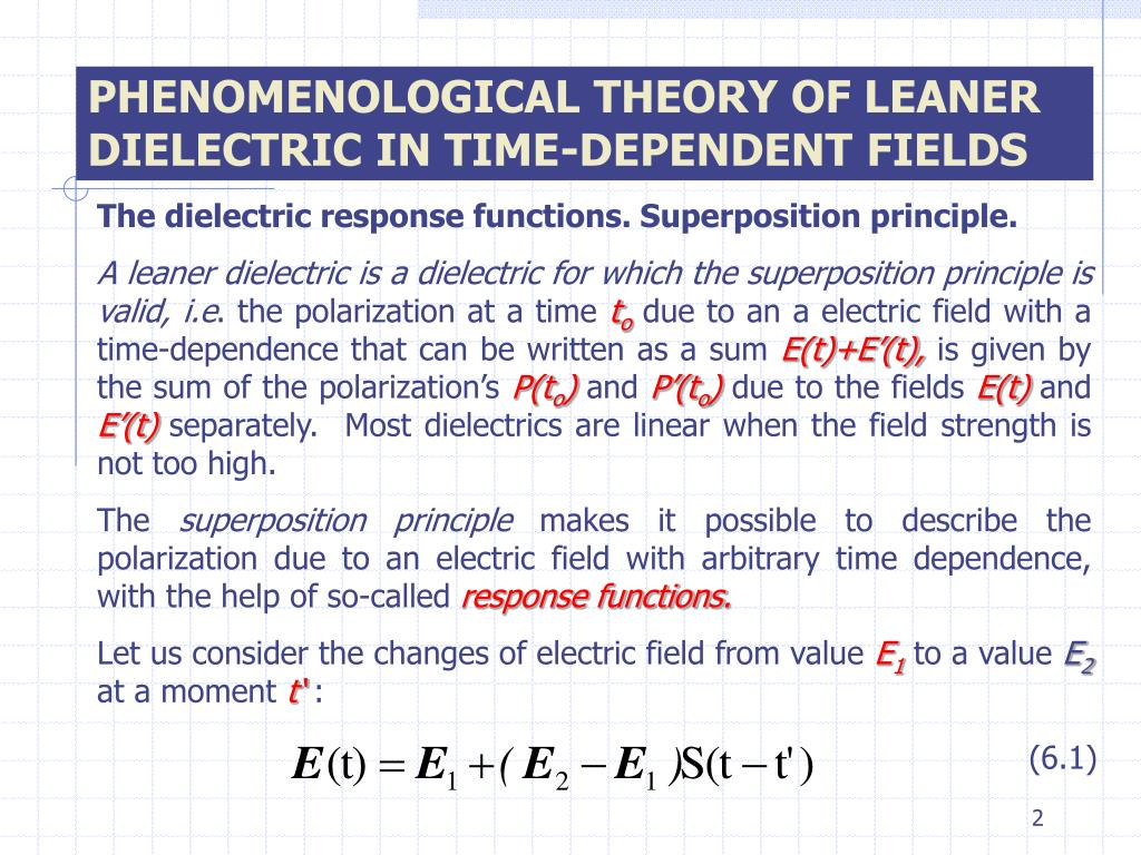 PHENOMENOLOGICAL THEORY OF LEANER DIELECTRIC IN TIME-DEPENDENT FIELDS