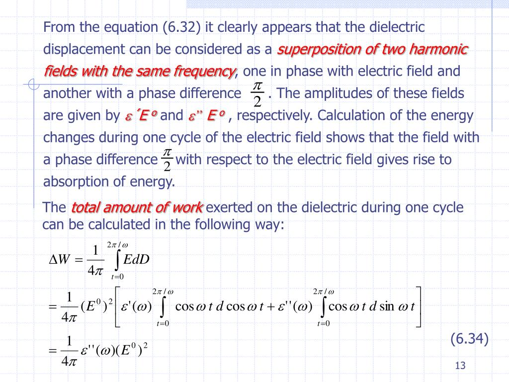 From the equation (6.32) it clearly appears that the dielectric displacement can be considered as a