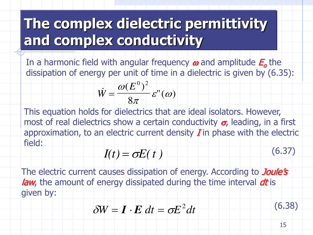 The complex dielectric permittivity and complex conductivity