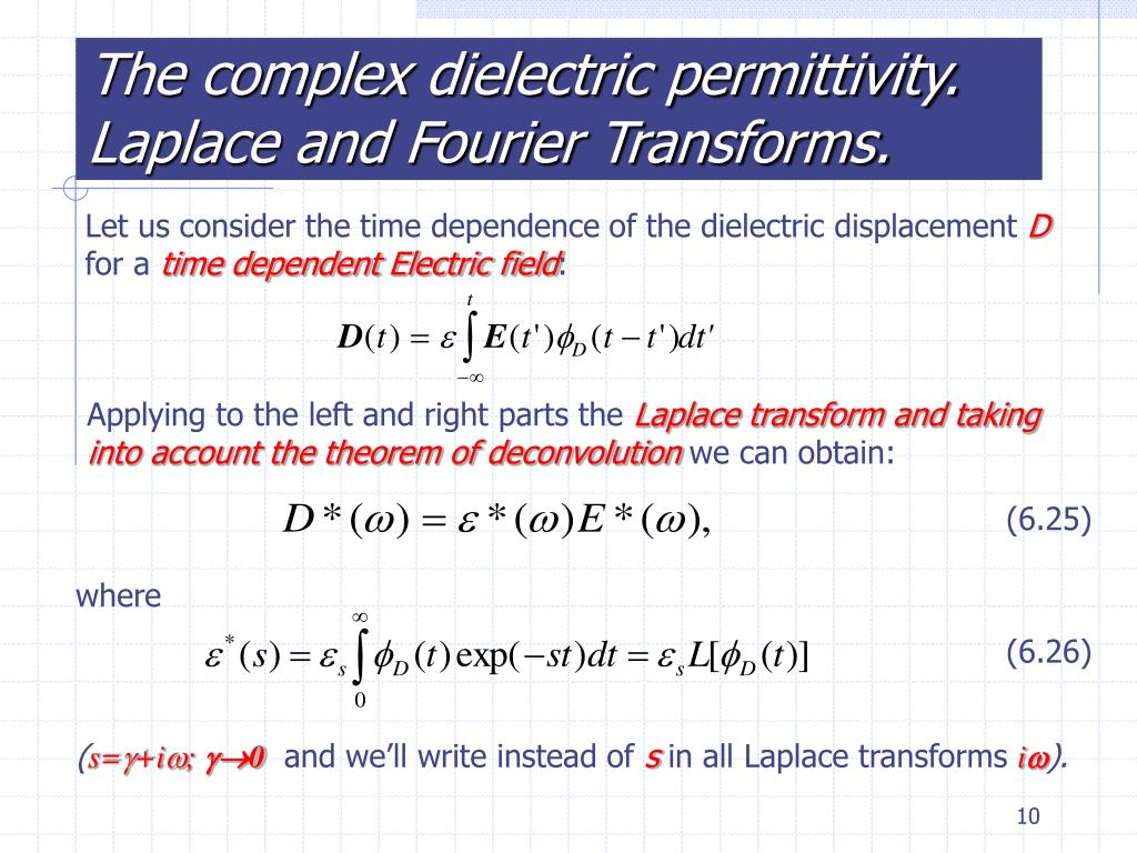 The complex dielectric permittivity. Laplace and Fourier Transforms.
