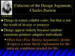criticism of the design argument charles darwin