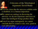 criticisms of the teleological argument david hume