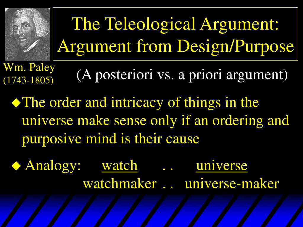 the teleological argument argument from design purpose l.