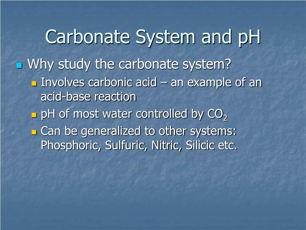 carbonate system and ph l.
