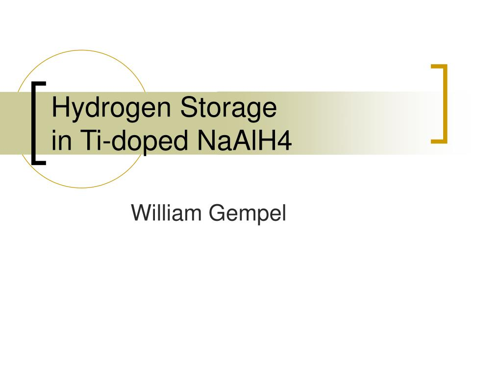 hydrogen storage in ti doped naalh4 l.