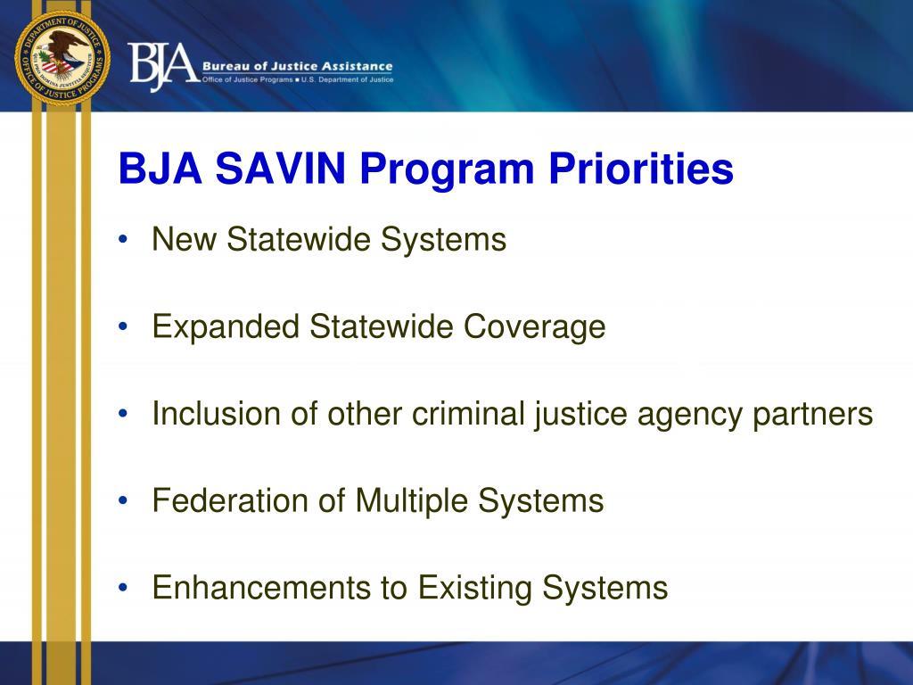 BJA SAVIN Program Priorities