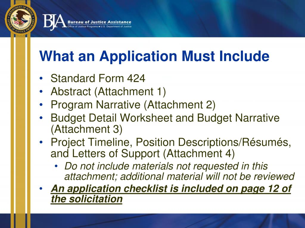 What an Application Must Include