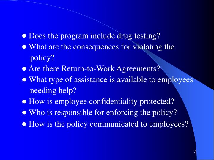 Does the program include drug testing?
