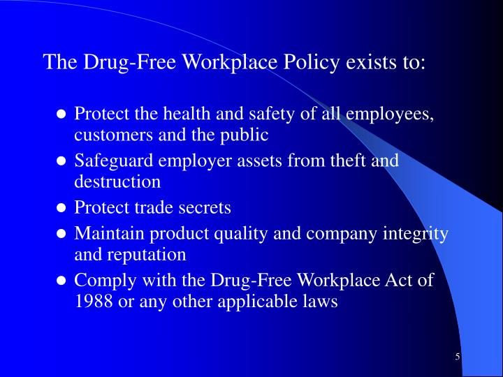 The Drug-Free Workplace Policy exists to: