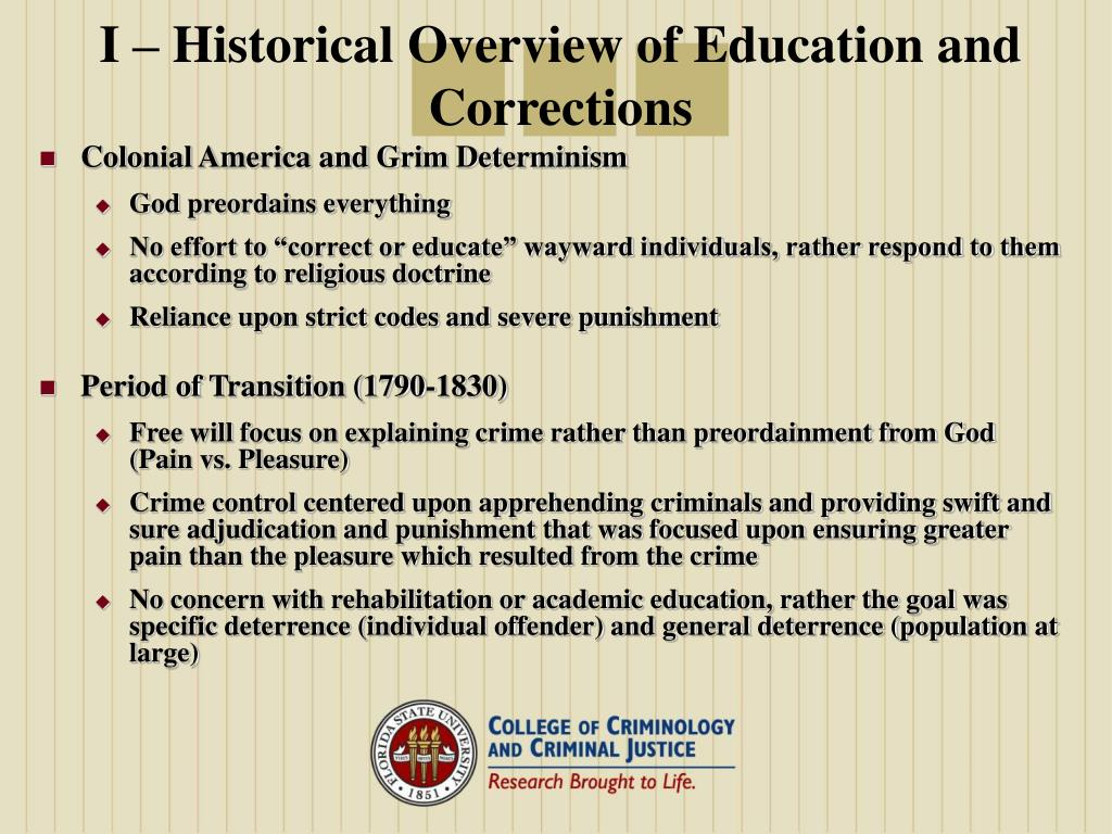 I – Historical Overview of Education and Corrections