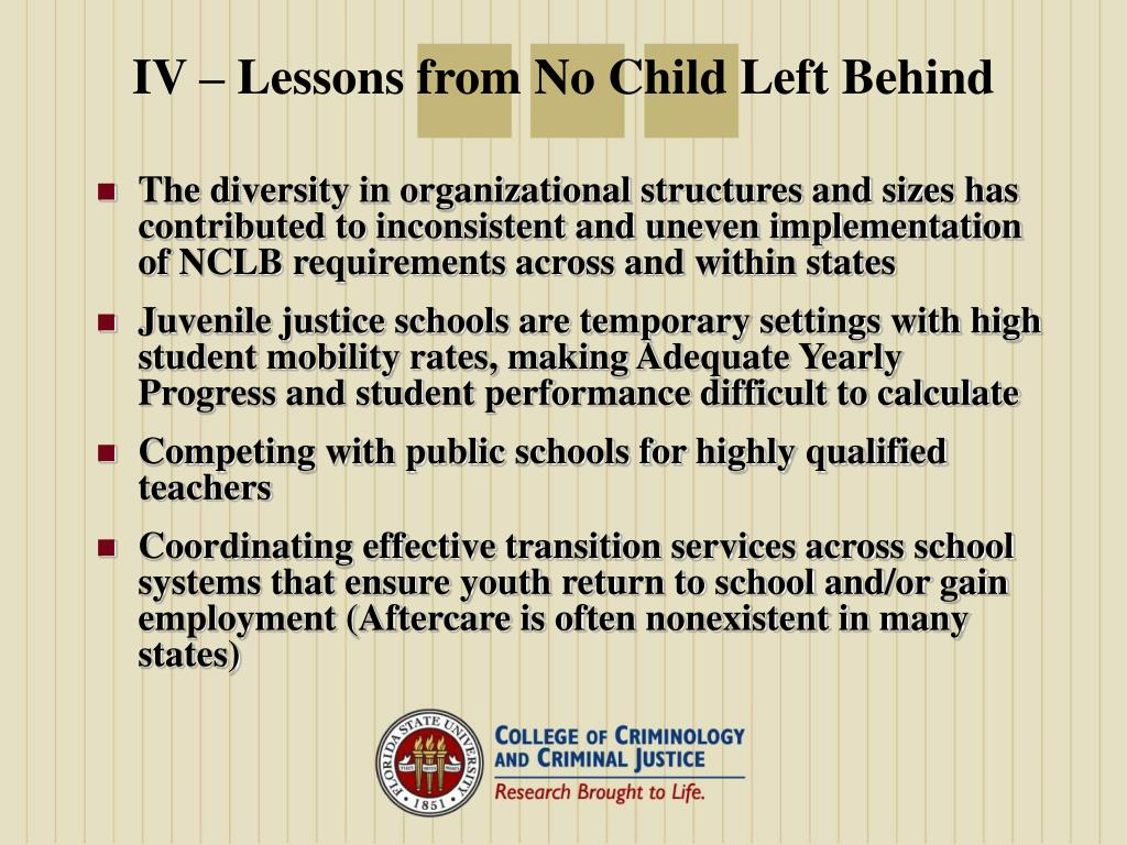 IV – Lessons from No Child Left Behind