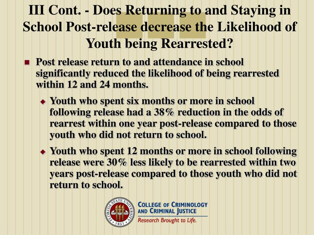 III Cont. - Does Returning to and Staying in School Post-release decrease the Likelihood of Youth being Rearrested?