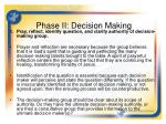 phase ii decision making