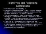 identifying and assessing correlations